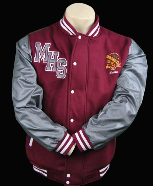 Denim Sleeves Baseball Jacket Moorebank High School