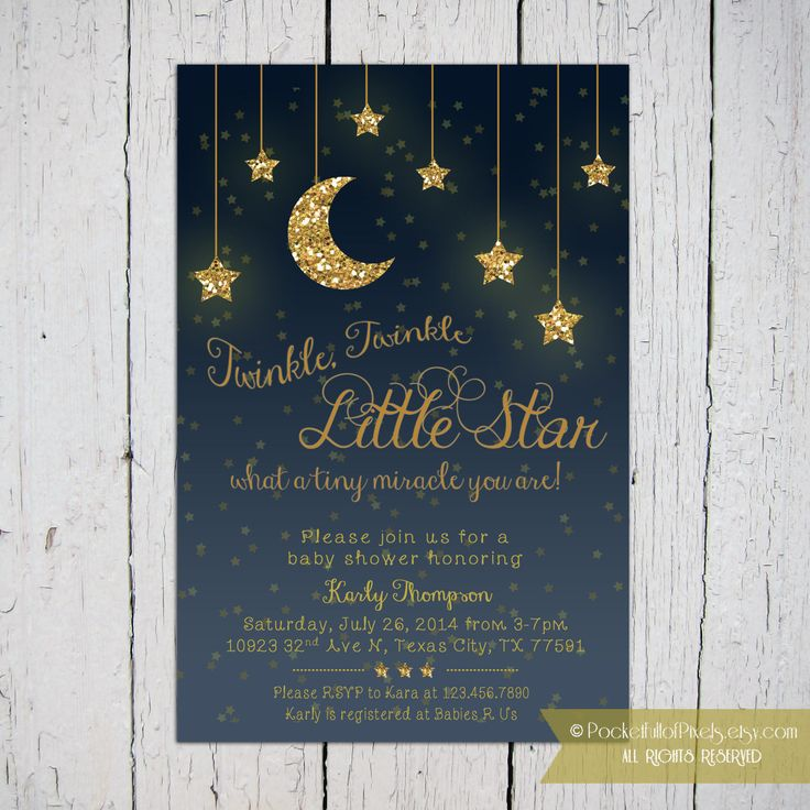 A great invitation for a Twinkle Twinkle Little Star themed baby shower! Invite your guests in style with this invite! Available in 4 different color options! Please contact me regarding other colors. Modification charges may be required. You can send this card by mail by sending the digital file to your favorite local / online printing company for hard copy.  You can also email this card! By E-mailing this digital eCard, it not only can saves you postage and time, but trees too!  ★ Please…