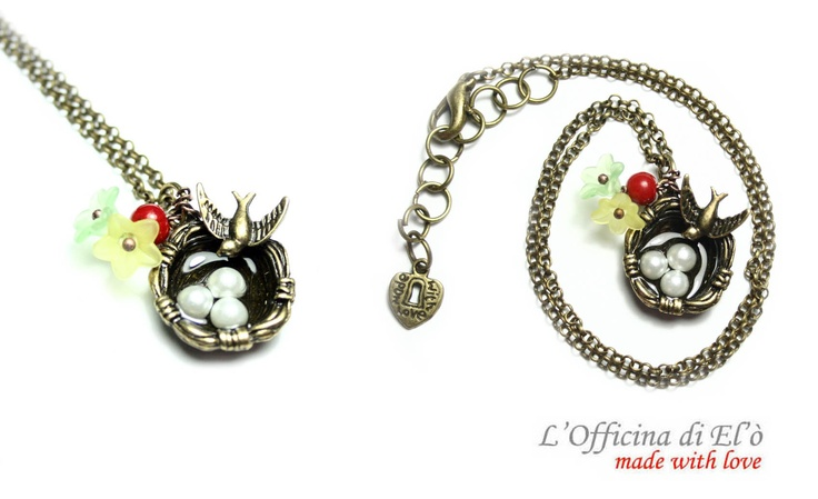 necklace swallow's nest with flowers - collana nido di rondine con fiorellini