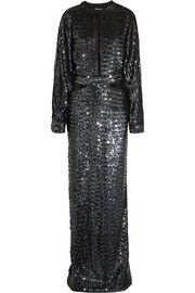 Cutout sequined silk-georgette gown