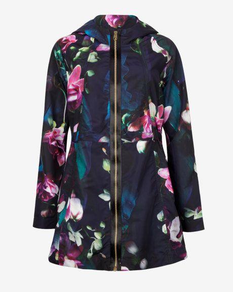 Fuchsia Floral parka - Dark Blue | Jackets & Coats | Ted Baker