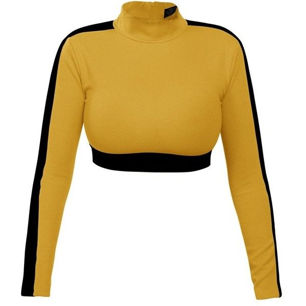 Formula Top in Yellow No Logo ($108) ❤ liked on Polyvore featuring tops, mock neck top, white crop top, crop top, yellow long sleeve top and long sleeve tops