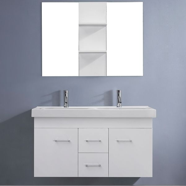 Virtu USA Opal 48-inch White Double Sink Vanity Set - Overstock™ Shopping - Great Deals on VIRTU Bathroom Vanities