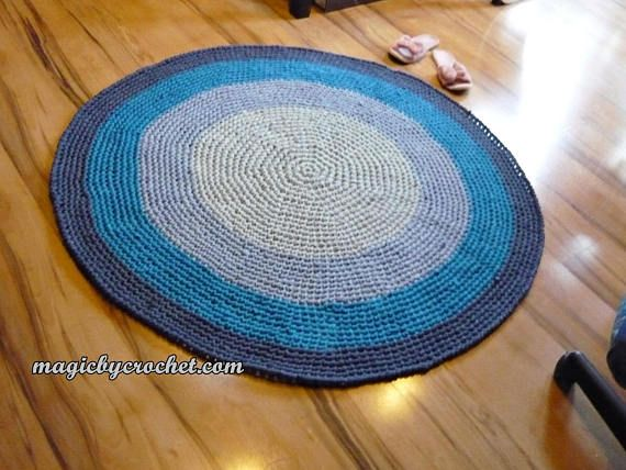 Ombre Blue Handmade Rug / 120 cm Crochet Rug  Cotton Rag Rug