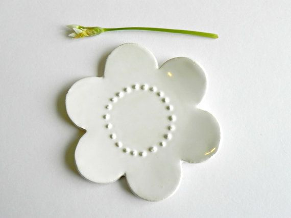 White Flower Ceramic  Plate Small Wedding Ring Dish by Ceraminic, $16.00