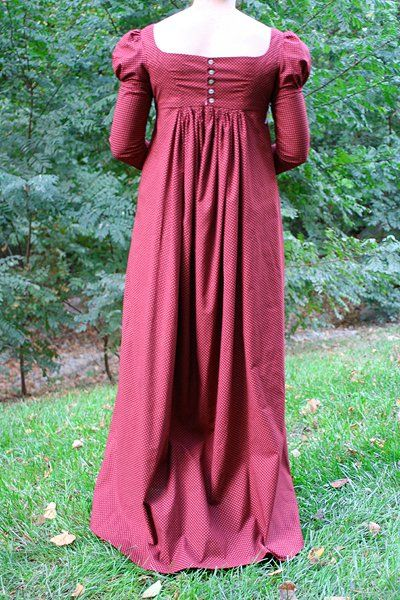 Regency Day Gown with Undersleeves (Back View) | made by Melissa T. from a Sense & Sensibility Pattern. Showcased on that company's website by Jennie Chancey.