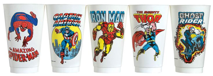 """1975 Marvel Slurpee Cups"" [click for article]"