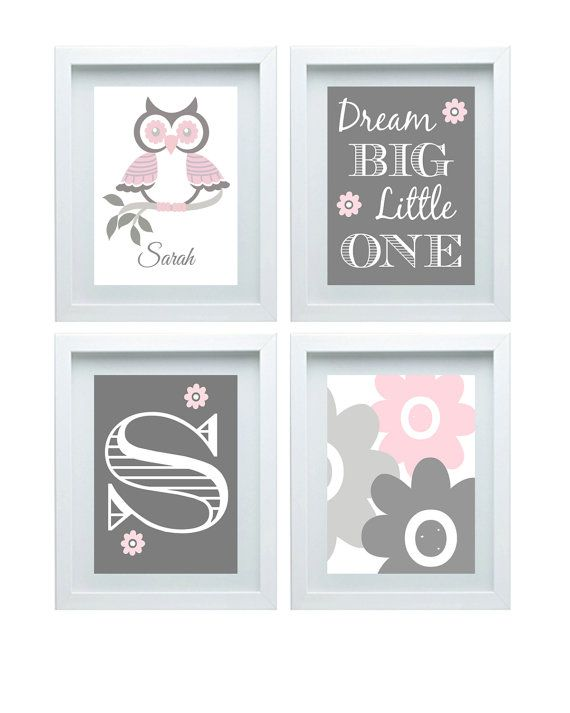 Girls Bedroom Decor Custom Name Owl Nursery Art Pink Gray Wall Art Girls Bedroom Decorations Set of 4-8X10 Prints