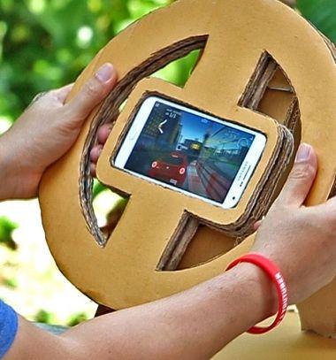 DIY Mobile race gaming steering wheel from cardboard // Kormány telefonos autós játékokhoz házilag kartonpapírból // Mindy - craft tutorial collection