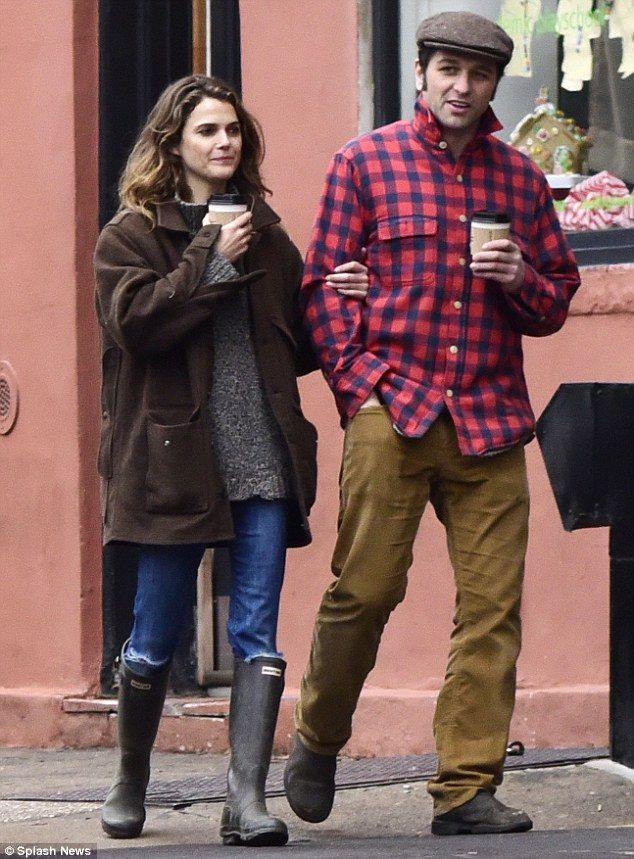 Coffee couple: Keri Russell and Matthew Rhys locked arms on their romantic stroll on their coffee run in Brooklyn on Sunday