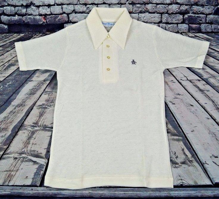 VTG Penguin Grand Slam Munsingwear Mesh Polo Golf Shirt White S Small USA Made #GrandSlam #PoloRugby