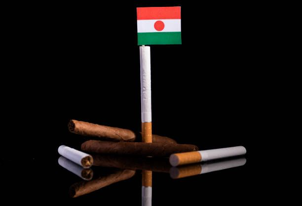 niger flag with cigarettes and cigars tobacco industry concept