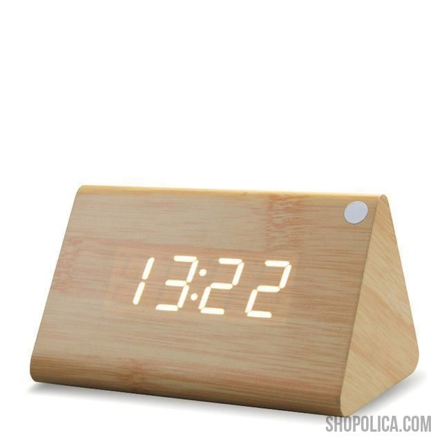 Modern Wooden Led Digital Table Clock With Thermometer Bamboo White In 2020 Small Digital Clock Clock Clock Sound