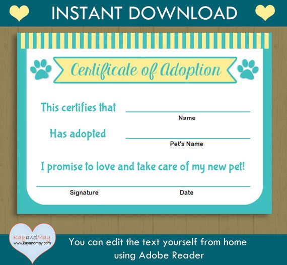 Pet Adoption Certificate / INSTANT DOWNLOAD printable pet adoption kitten cat puppy /