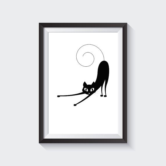 Cute cat art, Black and White Wall Art, print wall art, home decor, nursery, art posters, poster art prints, Wall Art, Printable, Instant Download