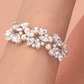 A romantic bridal bracelet.   statement, bridal bracelet, faux pearls, crystals, romantic, Lily Luna, Edinburgh Bridal Jewellery Boutique, charming, sparkly, silver