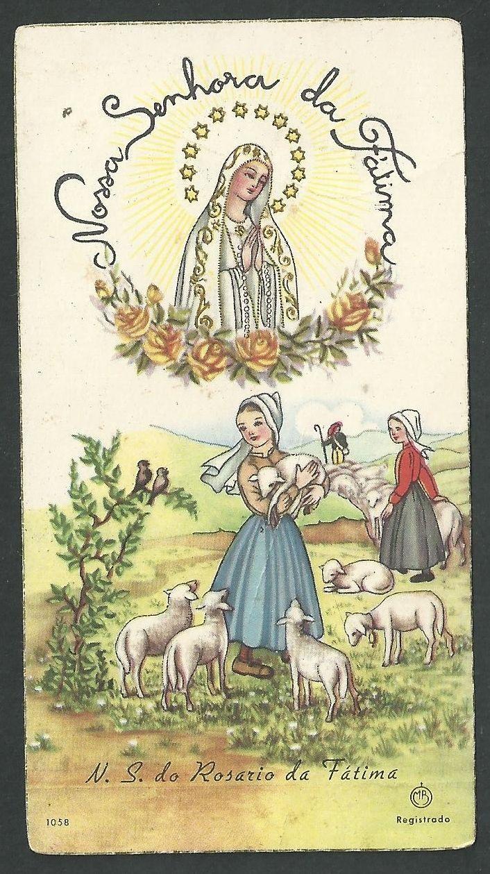 Estampa antigua Virgen de Fatima andachtsbild santino holy card santini | eBay