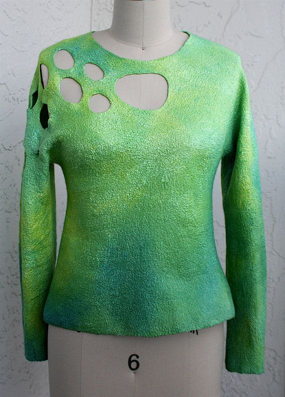 Green silk wool felted sweater jumper pullover top woman unique felted long sleeves woman size XS-S handmade OOAK unique design designer