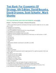 download Test Bank For Economics Of Strategy, 6th Edition, David Besanko, David Dranove, Scott Schaefer, Mark Shanley.pdf