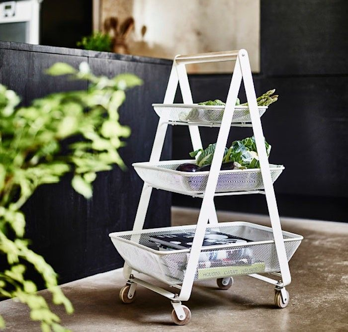 Ikea Kitchen Basket | RemodelistaThe Risatorp Kitchen Cart, made of powder-coated steel with a birch handle, is $59.99. Available in early February.