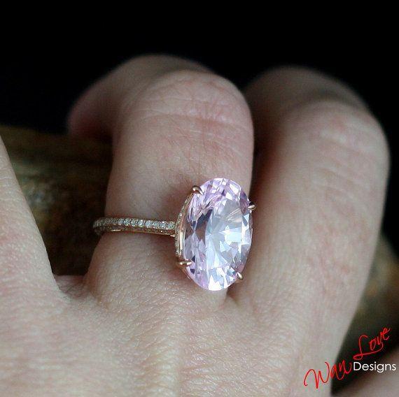 Custom Celebrity Light Pink Sapphire Engagement Ring 4ct 10x8 Diamond 14k 18k White Yellow Rose Gold-Platinum-Wedding-Anniversary-Layaway