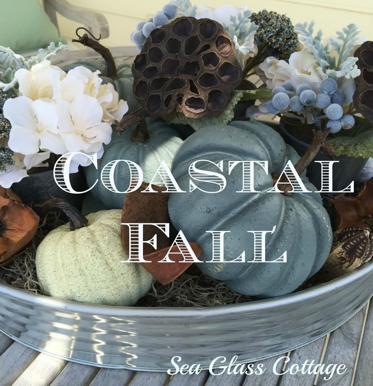Sea Glass Cottage : Coastal Fall Decor - Patio Table Display   9/2015