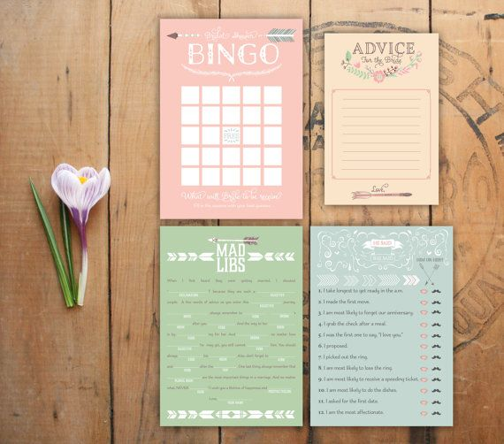 Love Struck. Printable Bridal Shower Games Set. Bingo, He Said She Said, Mad Libs, and Advice. Arrows and Pastel Flowers. Instant download!