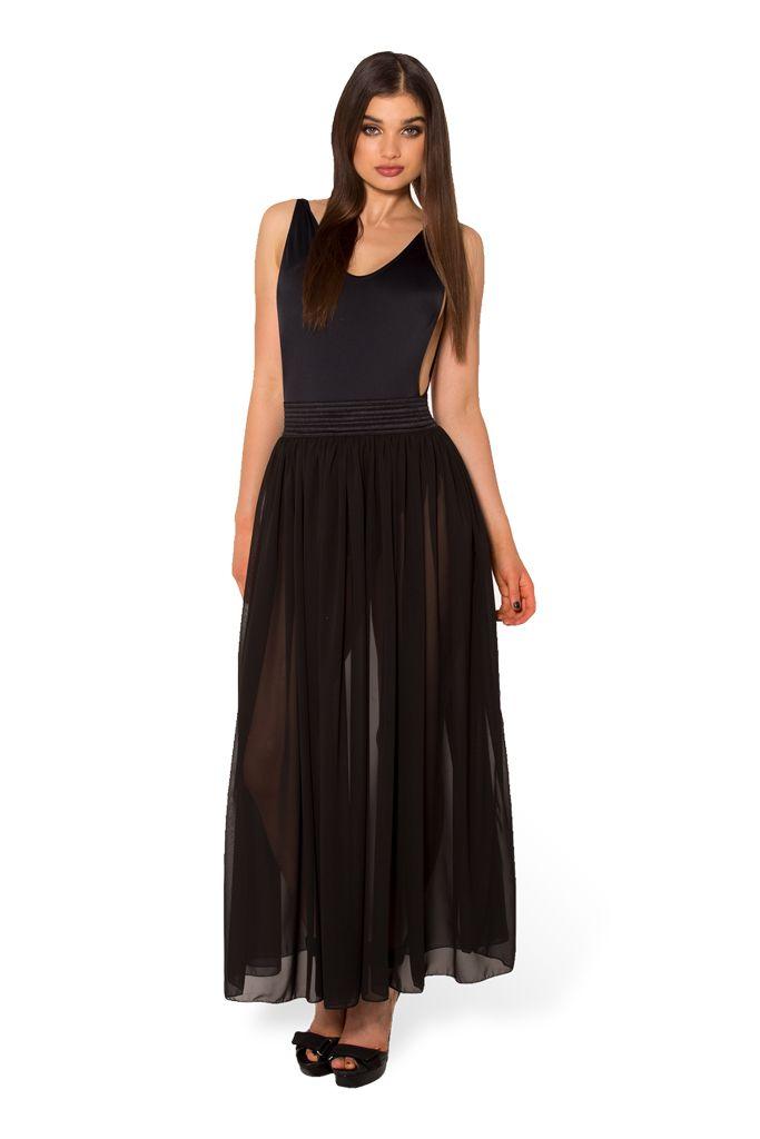 Chiffon Noir Maxi Skirt - LIMITED (WW $70AUD / US $65USD) by Black Milk Clothing