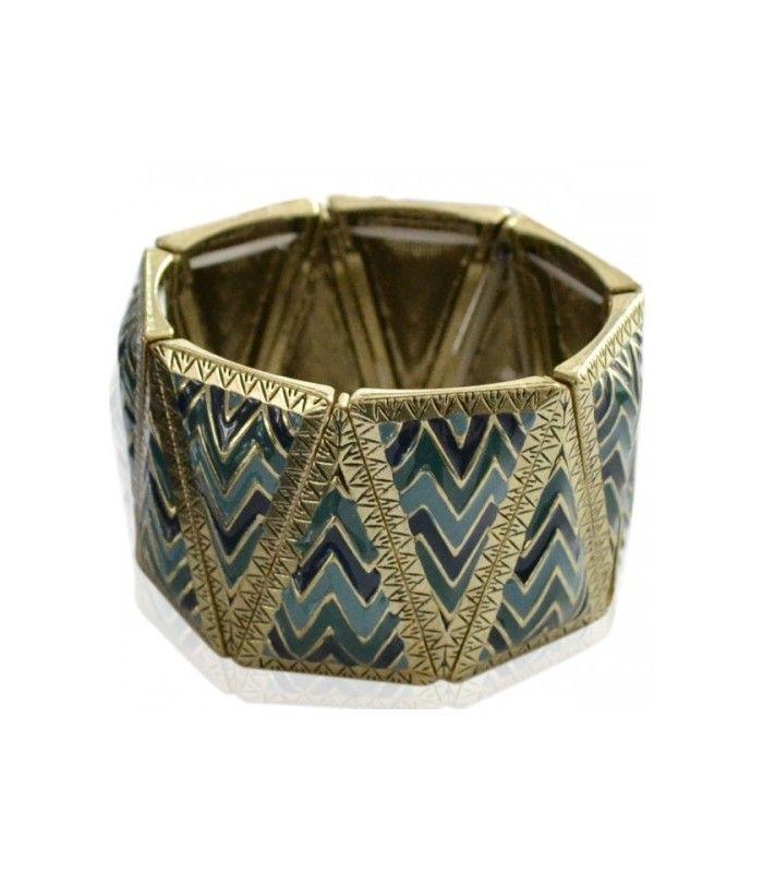 Blauwe brede elastische armband met mooie motief. De mooiste Armbanden koop je online Snelle levering Trendy en moderne Armbanden Blauwe armbanden...