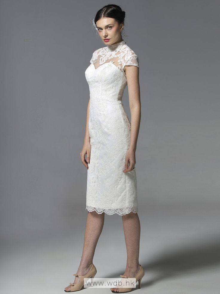 Fine Lace Cap Sleeve Column Dress