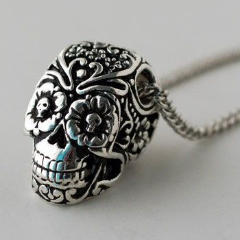 Day Of The Dead Sugar Skull Necklace by Lost Apostle