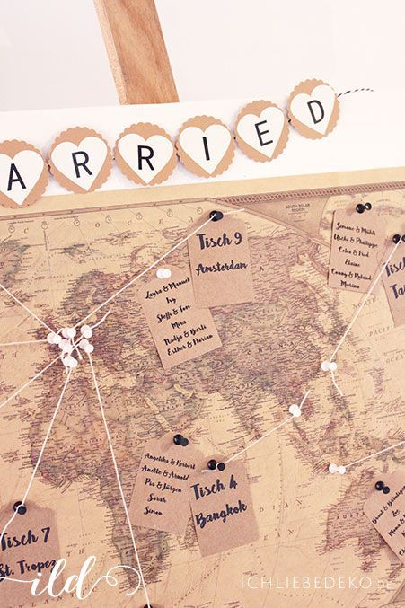 diy wedding decoration ideas: world map wedding seating chart in vintage travel …