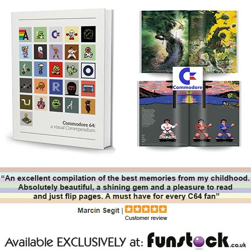 """""""Commodore 64: A Visual Compendium provides a sumptuously produced homage to that style, presented over hundreds of pages of crisp pixel art from the computer's most famous releases... for anyone who harbours a wealth of 64k-powered memories, it offers a heartfelt pictorial retrospective"""" - The Observer  http://www.funstock.co.uk/commodore-64-a-visual-commpendium-c64-book  Use code """"PINFUN"""" for 5% off!   #c64 #commodore #retrogaming #giftideas #retro #gaminggifts #books"""