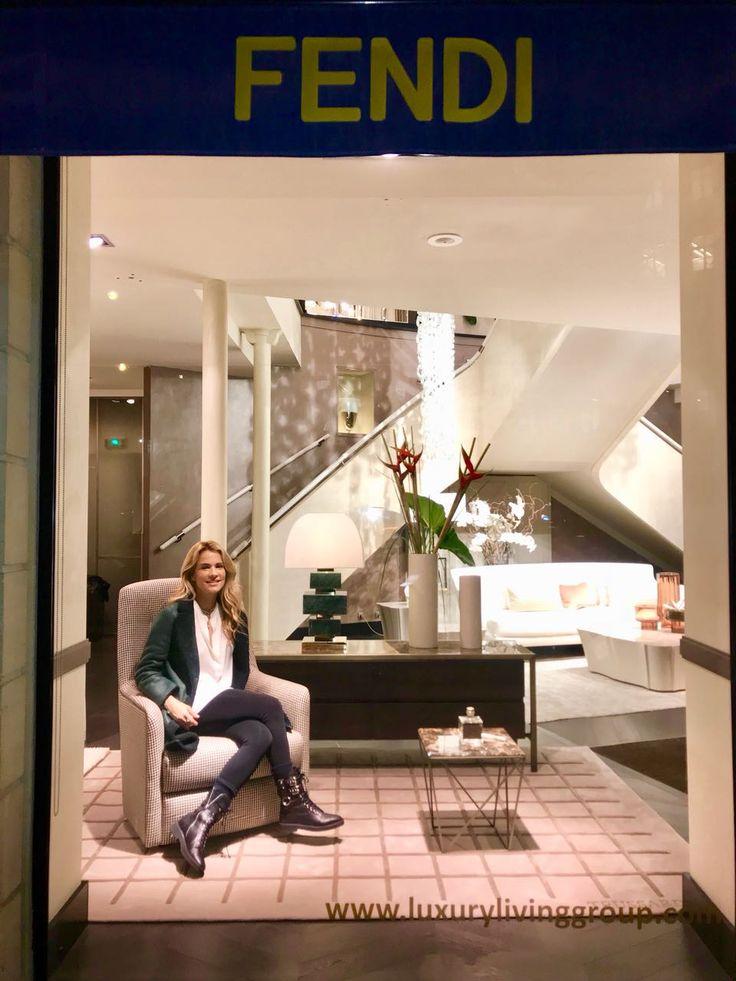 Luxury Living's Fendi window showcasing my greeen marble lamp with bronze details in Paris, France