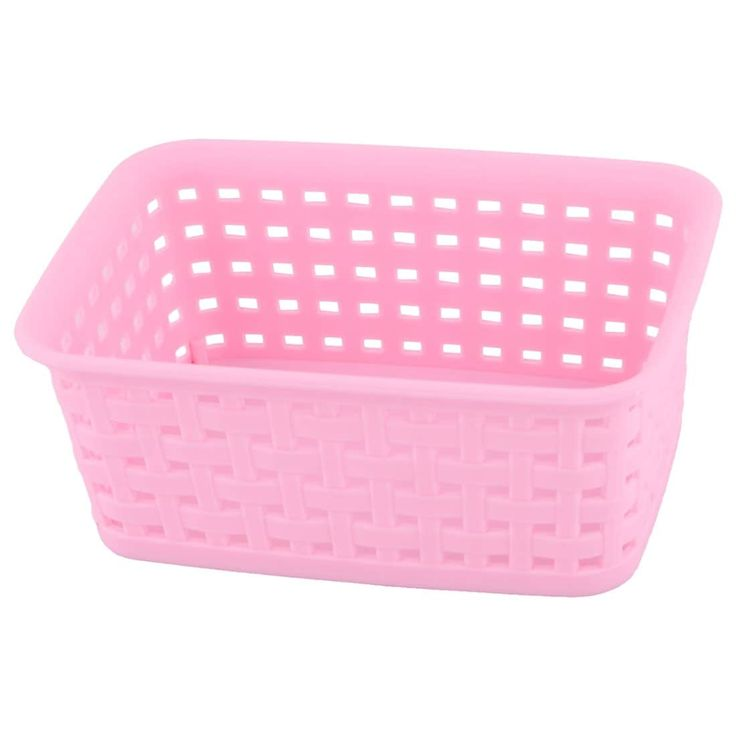 Household Plastic Hollow Out Design Sundries Key Storage Basket Organizer Pink