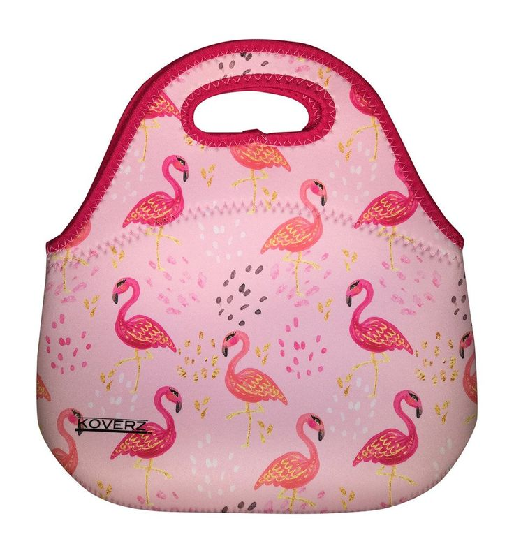 Koverz - #1 Neoprene Lunch Bag, Outdoor Bag - CHOOSE FROM 16 STYLES! - Pink Flamingos