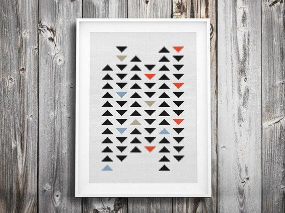 ▲▼▲ géométrique au milieu du siècle moderne triangle cross stitch KIT ▲▼▲  modèle de point de croix conçus de main. facile et peut être un excellent