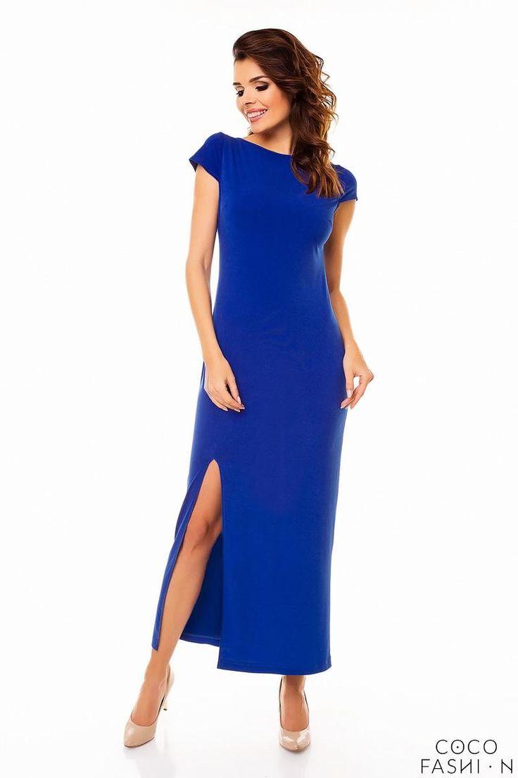Niebieska Sukienka Maxi z Odkrytymi Plecami