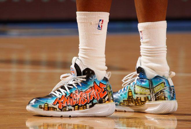 Espectáculo en las zapatillas  Las espectaculares zapatillas de Baron Davis (Knicks).