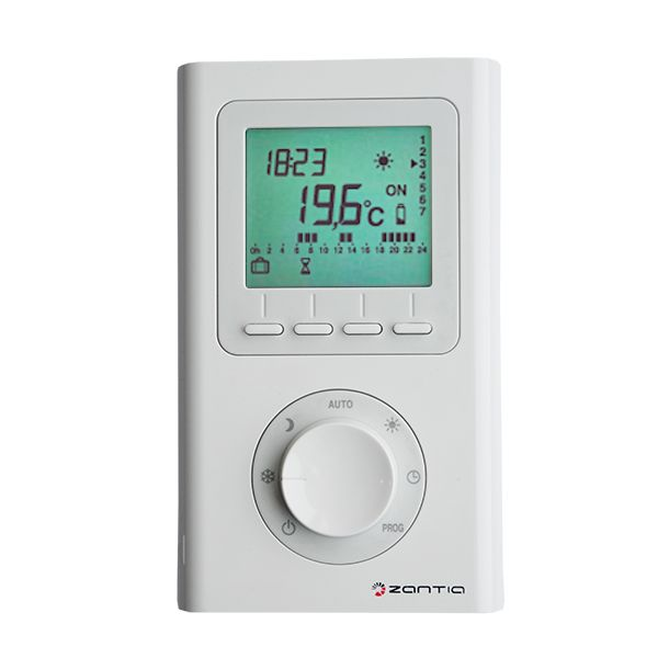 Cronotermostato Digital Semanal Sem fios para programação e controlo da temperatura ambiente.Principais CaracterísticasEmissor (via rádio):• Alimentação por 2 pilhas 1,5 V do tipo AAA (incluídas)•...