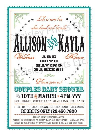Western Chic Joint Couples Baby Shower Invitation. Option to Print. LOVE this one!