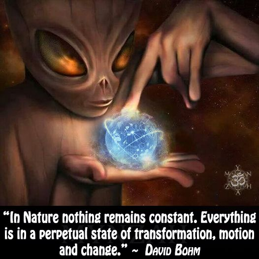 """""""In Nature nothing remains constant. Everything is in a perpetual state of transformation, motion and change."""" ~ David Bohm"""