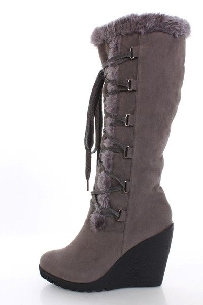 Grey Velvet Faux Fur Trim Laced Up Wedge Boots @ Amiclubwear Boots Catalog:women's  winter
