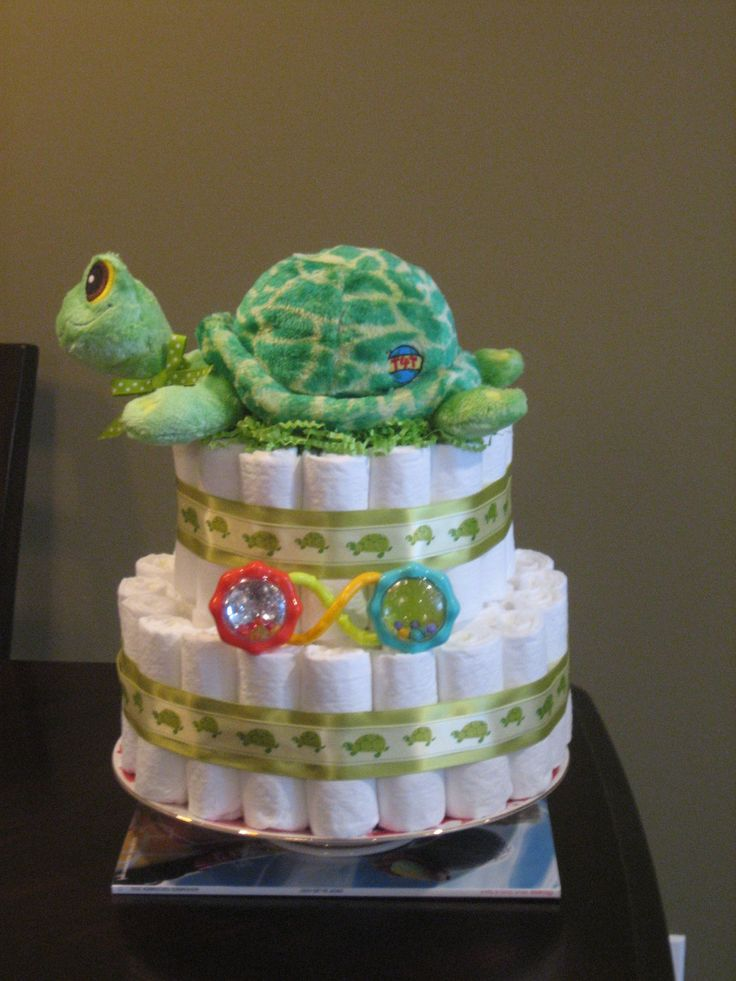 baby shower diaper cakes | Turtle Neutral Green Diaper Cake for Baby Shower Centerpiece, New Baby ...