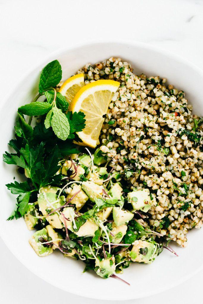 Green Goddess Revitalization Bowl with Herbed Buckwheat, Avocado & Microgreens - Blissful Basil