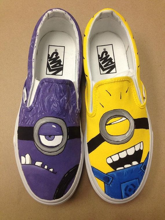 Hand painted Van shoes, Minions on Etsy, $85.00
