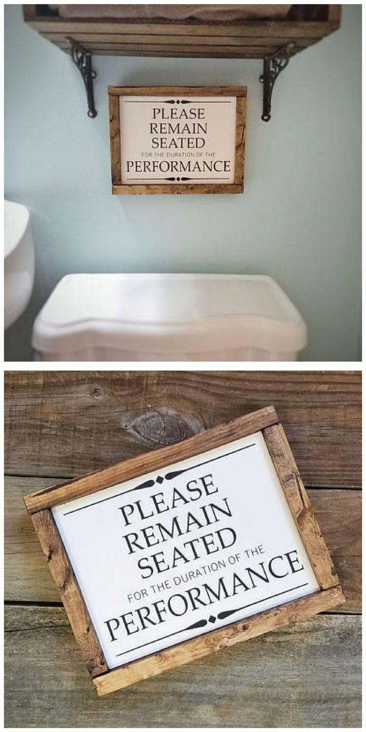 Over the toilet humorous sign.  #toilet #Bathroom #HomeDecor #WallArt #Farmhouse #Rustic #Cottage #Ad #Humor