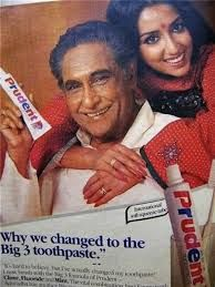 Prudent Toothpaste Ad with Ashok Kumar and grand daughter Anuradha (Patel)