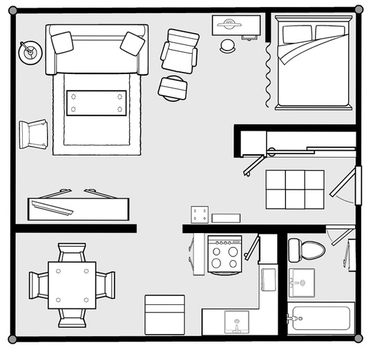 2009 winner of Apartment Therapy's Small Cool contest: 478 sq ft. This is amazingly efficient.
