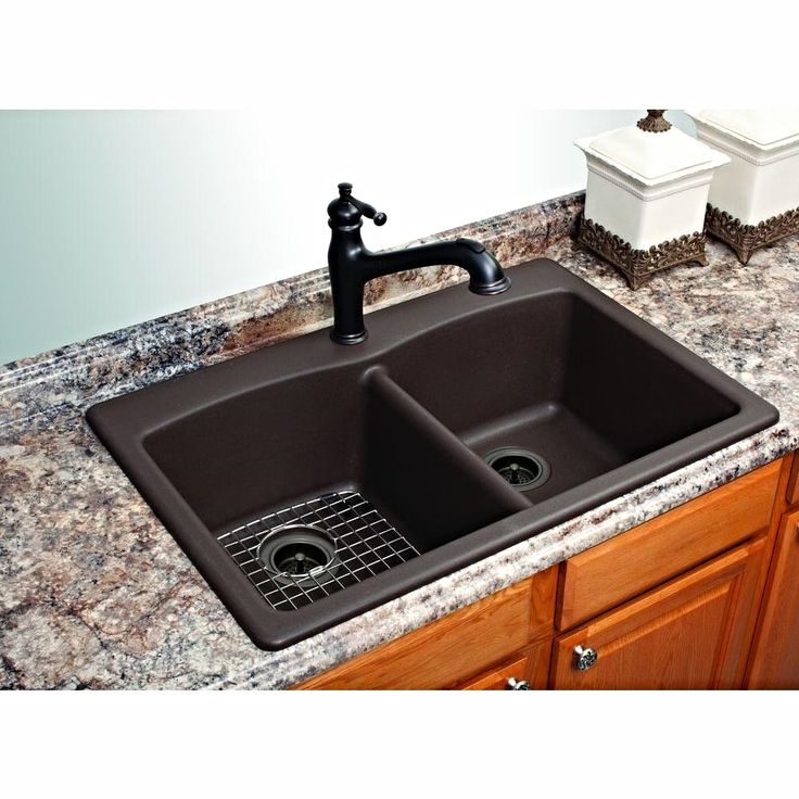 This beautiful composite granite sink in mocha from FrankeUSA can be mounted as an under-counter or drop-in. It's a superb choice for a variety of decor themes.